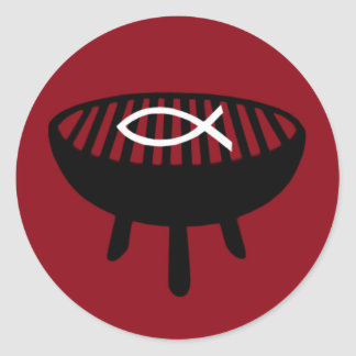 Fish on the grill classic round sticker