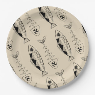 Fish pattern(black) Paper Plates, various colours Paper Plate