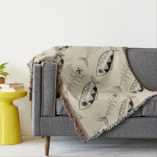Fish pattern(black) Throw Blanket, various colours
