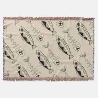 Fish pattern(black) Throw Blanket, various colours