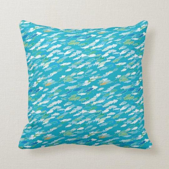 Fish pattern, blue, white, green throw pillow