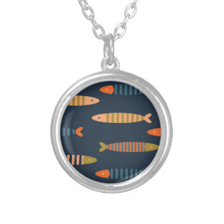 Fish pattern. Ocean life Silver Plated Necklace