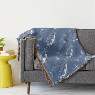 Fish pattern(white) Throw Blanket, various colours