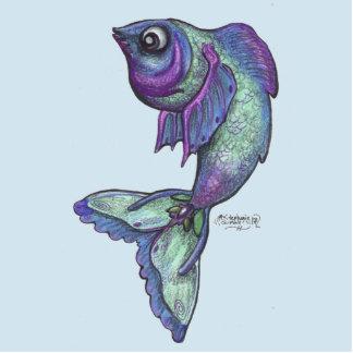 Fish Pisces Pin Photo Sculpture Button