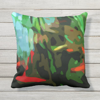 Fish Pond Outdoor Pillow