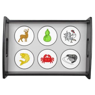 Fish Prawn Crab Game Board Serving Tray - Gray