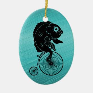 Fish Riding a Bike Ceramic Ornament