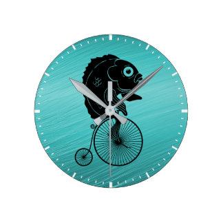 Fish Riding a Bike Round Clock