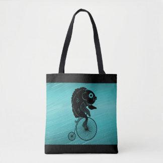 Fish Riding a Bike Tote Bag