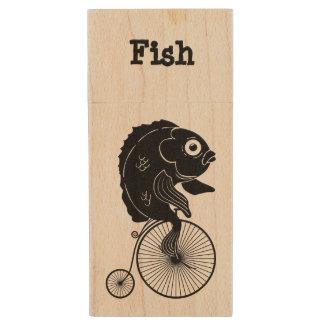 Fish Riding a Bike Wood USB Flash Drive