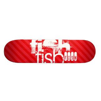 Fish; Scarlet Red Stripes Skateboard