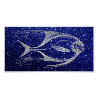 Fish Sea Ocean Life Blue Navy Beach Home Silver Poster
