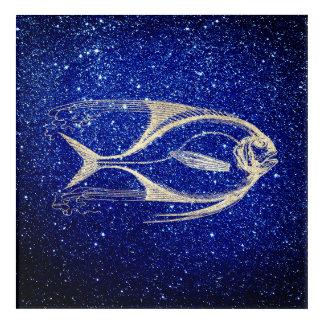 Fish Sea Ocean Life Cobalt Navy Blue Foxier Gold Acrylic Print