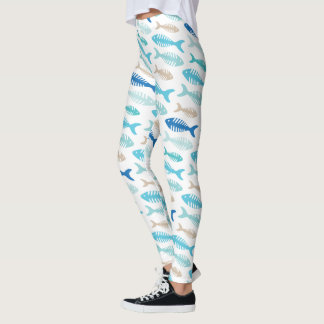 Fish Soup Funny Fish Bone Pattern Leggings