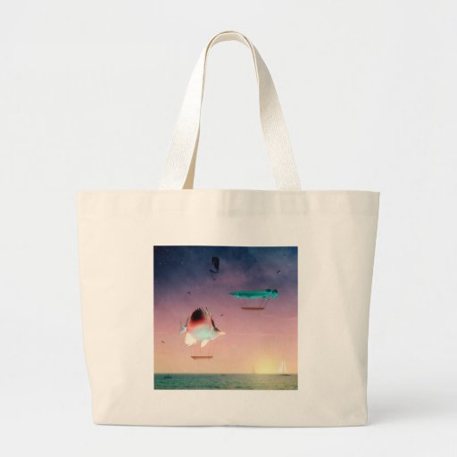 Fish Swim Best Between Night and Day Canvas Bags