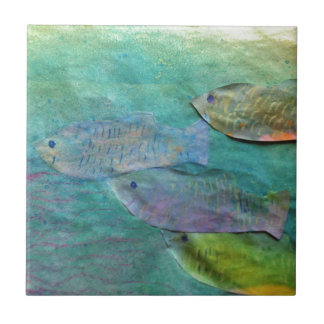 fish swimming about tiles