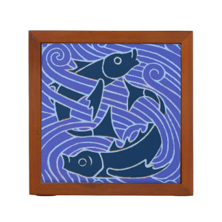 Fish Swimming Bold Blue Desk Organizer