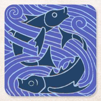 Fish Swimming Bold Blue Square Paper Coaster