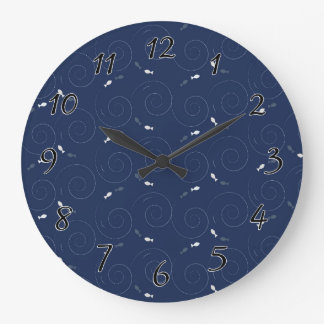 Fish Swimming in the Deep Blue Sea Clock