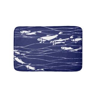 Fish Swimming Underwater Blue Bath Mat
