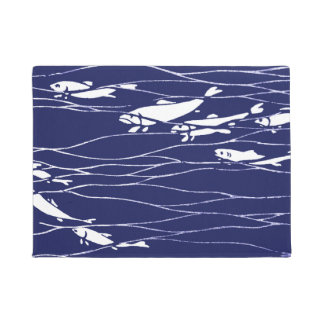Fish Swimming Underwater Blue Doormat