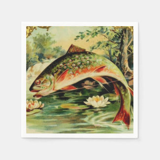 Fish Trout Fly Fishing Camping Lake River Paper Napkins
