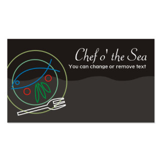 Fish vegetable dinner plate chef catering busin... business card