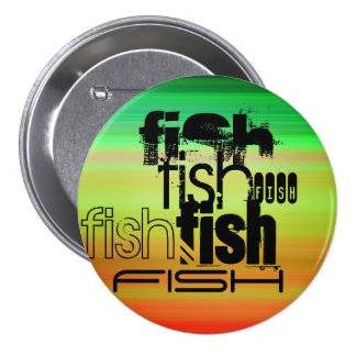Fish; Vibrant Green, Orange, & Yellow 3 Inch Round Button