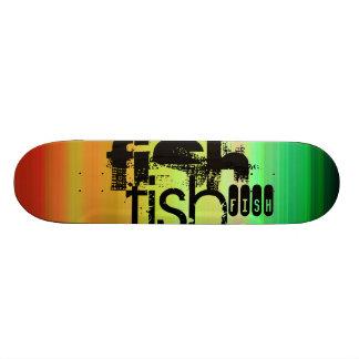 Fish; Vibrant Green, Orange, & Yellow Skate Board Deck