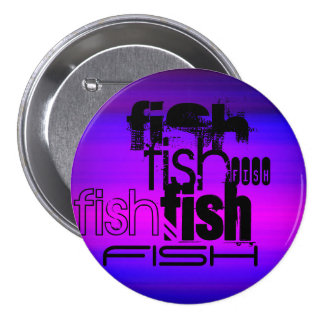 Fish; Vibrant Violet Blue and Magenta 3 Inch Round Button