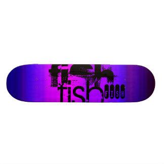 Fish; Vibrant Violet Blue and Magenta Skate Deck