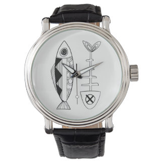 Fish Vintage Leather strap watch