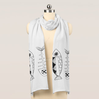 Fish White Jersey Scarf