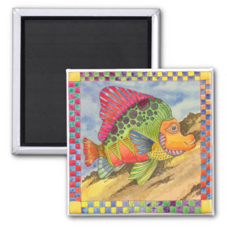 Fish with Checkered Border #1 Magnet