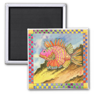 Fish with Checkered Border #2 Magnet