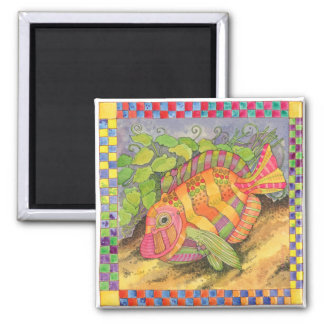 Fish with Checkered Border #5 Magnet
