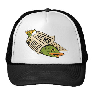 Fish Wrapped in Newspaper. Trucker Hat