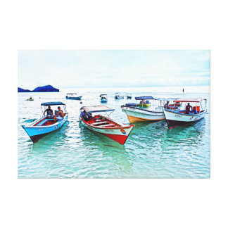 "Fisher boats (""peñeros"") in Mochicha, Venezuela Canvas Print"
