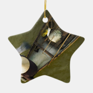 Fisher in Asia from above Ceramic Star Ornament