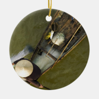 Fisher in Asia from above Round Ceramic Ornament