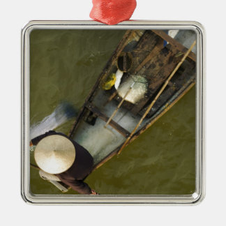 Fisher in Asia from above Silver-Colored Square Ornament