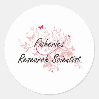 Fisheries Research Scientist Artistic Job Design w Round Sticker