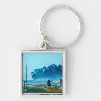 Fisherman at Dawn Vintage Japan Hand Colored Keychain