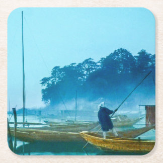 Fisherman at Dawn Vintage Japan Hand Colored Square Paper Coaster