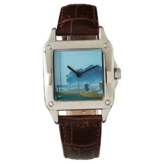 Fisherman at Dawn Vintage Japan Hand Colored Watch