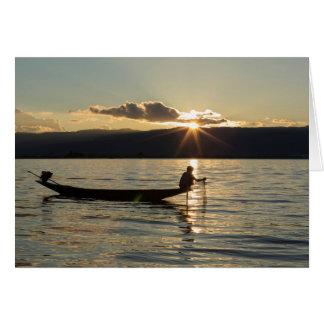 Fisherman At Sunset Card