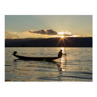 Fisherman At Sunset Postcard