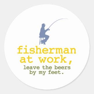 Fisherman At Work Classic Round Sticker