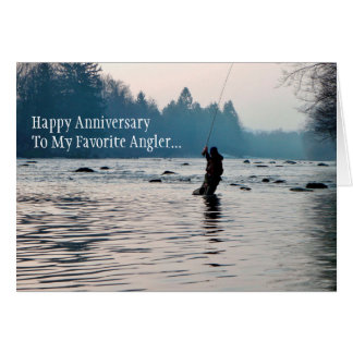 Fisherman Fishing Anniversary Card