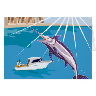 fisherman fishing catching blue marlin card